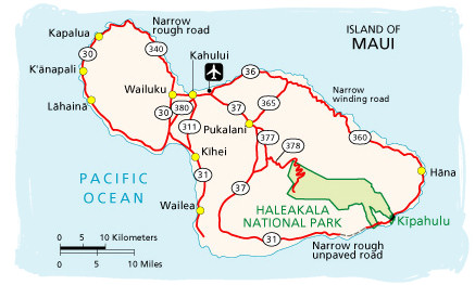 Maui Map Haleakala Drive Time